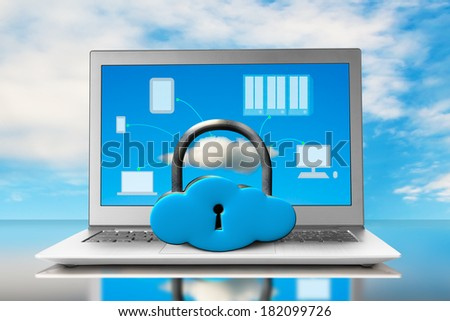 Cloud shape lock with laptop on table blue sky background - stock photo
