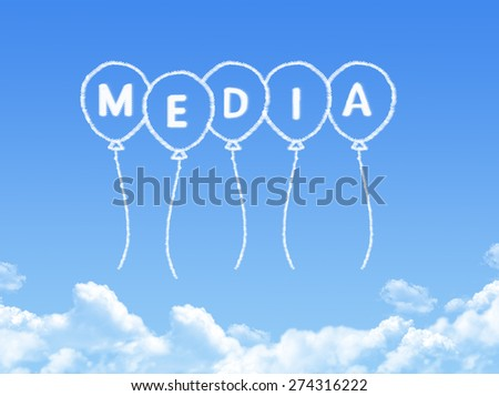 Cloud shaped as media Message - stock photo