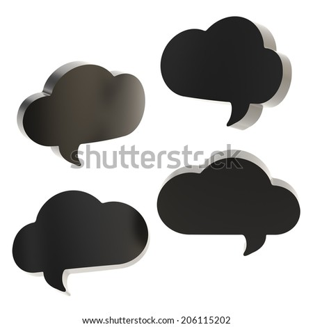 Cloud shaped black text bubble shapes isolated over the white background, set of four foreshortenings - stock photo
