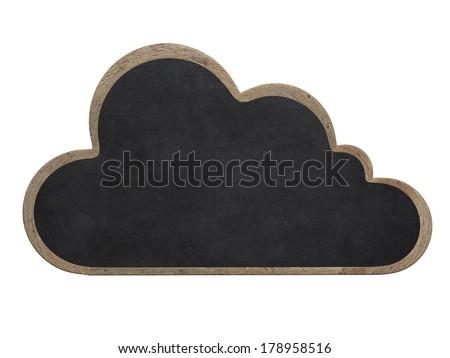 Cloud shaped blackboard - stock photo