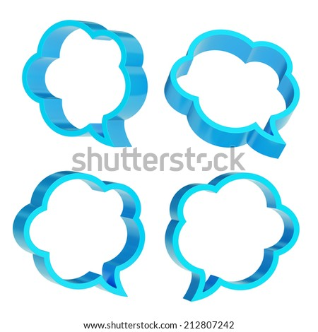 Cloud shaped blue text bubble shapes isolated over the white background, set of four foreshortenings - stock photo