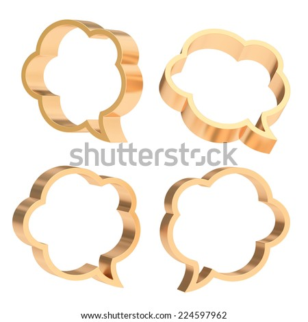Cloud shaped bronze metal text bubble shapes isolated over the white background, set of four foreshortenings - stock photo