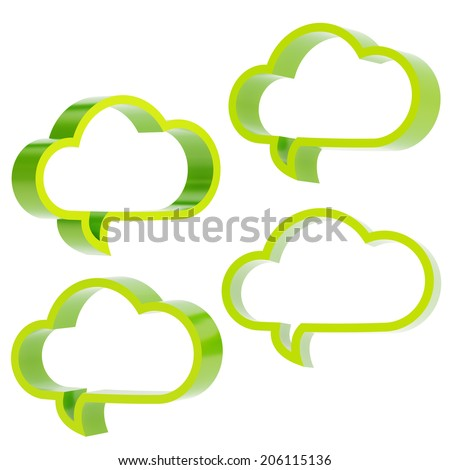 Cloud shaped green glossy text bubbles isolated over the white background, set of four different foreshortenings - stock photo