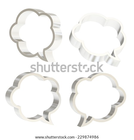 Cloud shaped silver metal text bubble shapes isolated over the white background, set of four foreshortenings - stock photo