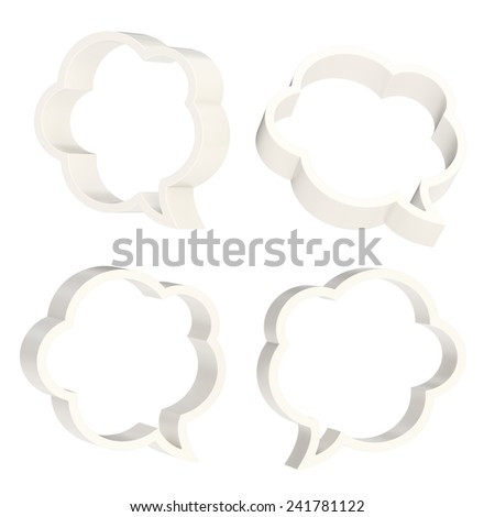 Cloud shaped white text bubble shapes isolated over the white background, set of four foreshortenings - stock photo