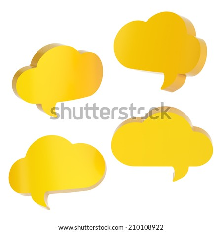 Cloud shaped yellow text bubble shapes isolated over the white background, set of four foreshortenings - stock photo