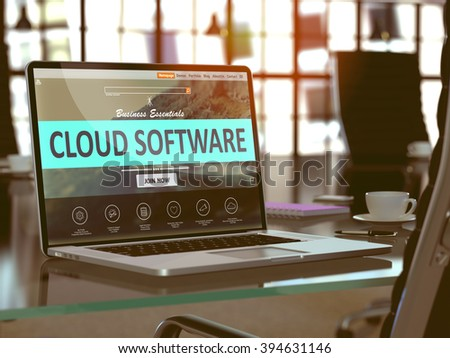 Cloud Software Concept Closeup on Laptop Screen in Modern Office Workplace. Toned Image with Selective Focus. 3D Render. - stock photo