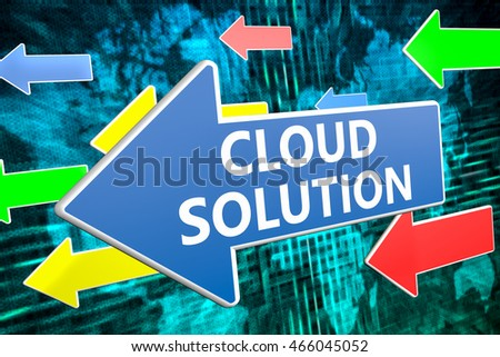 Cloud Solution - text concept on blue arrow flying over green world map background. 3D render illustration.