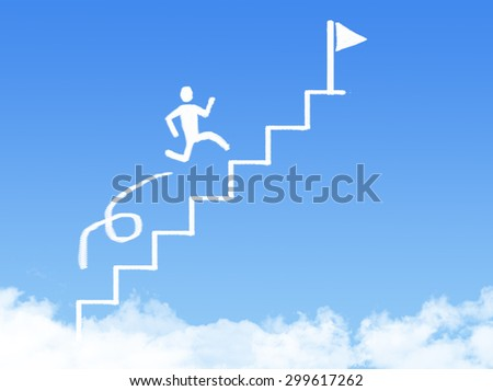 cloud stair, the way to success in blue sky - stock photo