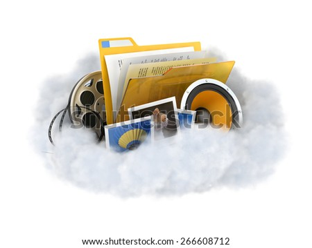 Cloud storage concept illustration. Cloud with a files isolated on white. - stock photo