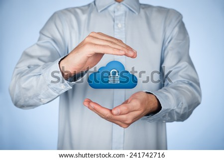 Cloud storage security concept. Safety data management specialist think about security of cloud computing data storage represented by cloud icon with padlock. - stock photo