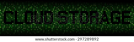 Cloud Storage text on hex code illustration - stock photo