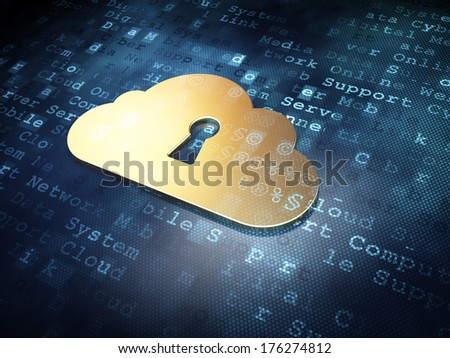 Cloud technology concept: Golden Cloud With Keyhole on digital background, 3d render