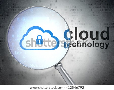 Cloud technology concept: magnifying optical glass with Cloud With Padlock icon and Cloud Technology word on digital background, 3D rendering - stock photo