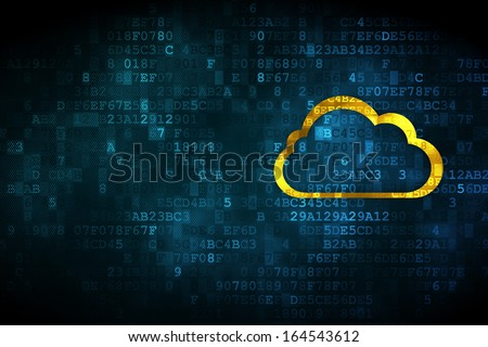 Cloud technology concept: pixelated Cloud icon on digital background, empty copyspace for card, text, advertising, 3d render - stock photo