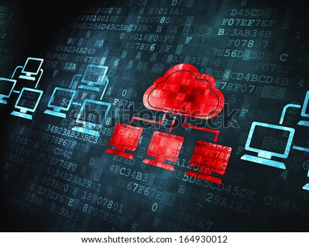 Cloud technology concept: pixelated Cloud Technology icon on digital background, 3d render - stock photo