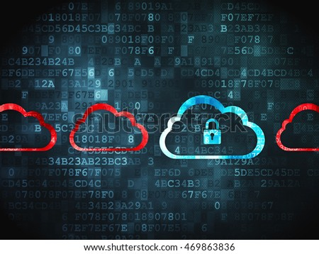 Cloud technology concept: pixelated Cloud With Padlock icon on digital background