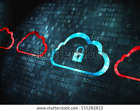 Cloud technology concept: pixelated Cloud With Padlock icon on digital background, 3d render - stock photo