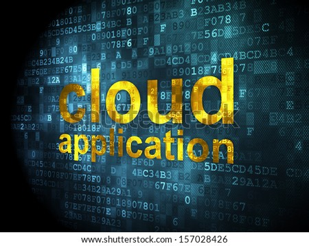 Cloud technology concept: pixelated words Cloud Application on digital background, 3d render - stock photo