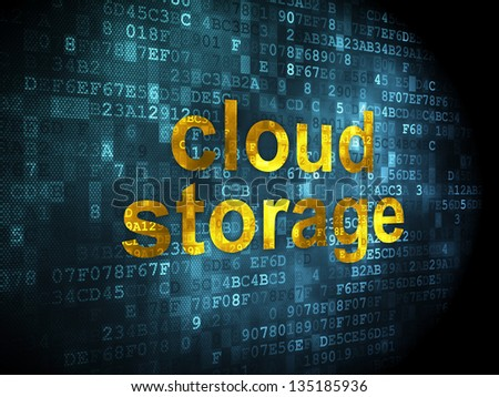Cloud technology concept: pixelated words Cloud Storage on digital background, 3d render
