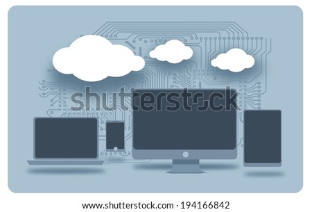 Cloud Technology Connection Between Computer Devices. Desktop Computer, Tablet, Laptop and Smartphone. Concept Illustration.