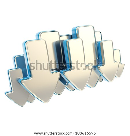 Cloud technology emblem icon tag made of glossy chrome metal and blue arrows isolated on white