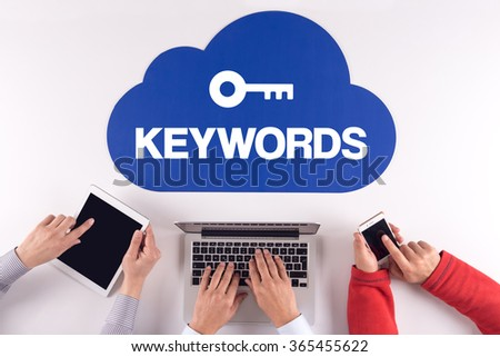 Cloud technology with KEYWORDS concept - stock photo