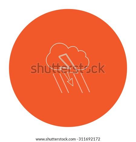 Cloud thunderstorm lightning rain. Flat white symbol in the orange circle. Outline illustration icon - stock photo