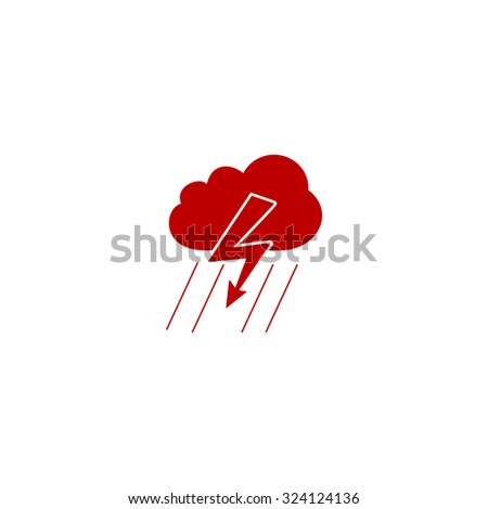 Cloud thunderstorm lightning rain. Red flat icon. Illustration symbol on white background - stock photo