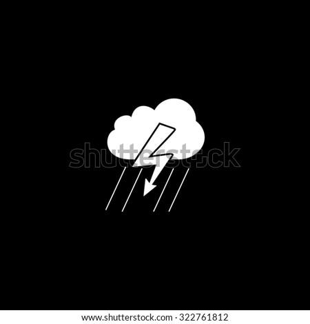 Cloud thunderstorm lightning rain. Simple icon. Black and white. Flat illustration - stock photo