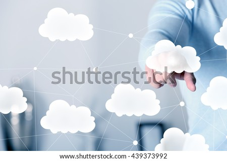 Cloud virtual screen. Cloud storage concept - stock photo
