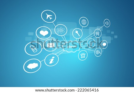 Cloud with icons. Blue background. New technologies concept