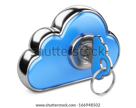 Cloud with key on white background. Cloud computing security concept. Isolated 3D image
