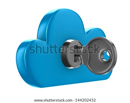 Cloud with key on white background. Isolated 3D image - stock photo