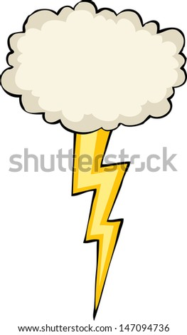 Cloud with lightning on a white background raster version - stock photo