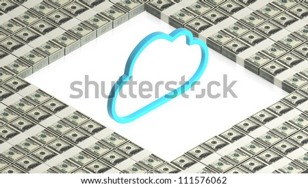 cloud with paper dollars