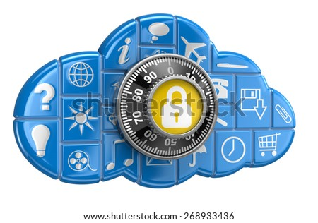 Cloud with pictograms protection (clipping path included) - stock photo