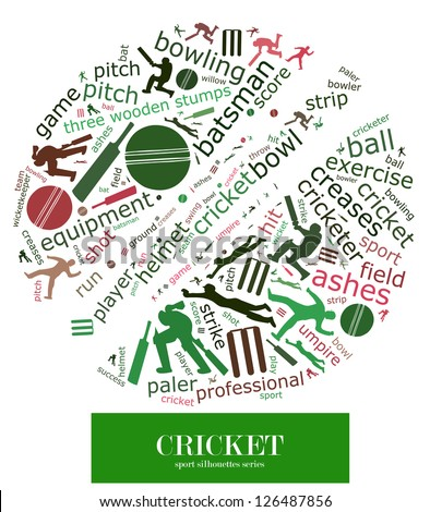 Cloud word of cricket game element and related keyword together with silhouette of several cricket actions composed in the shape of cricket ball - stock photo