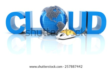 Cloud word with globe and mouse, 3d render, white background - stock photo