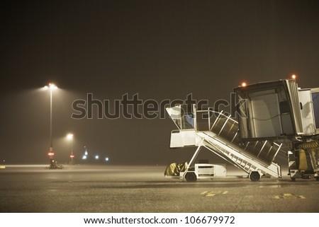 Cloudburst at Prague Airport. - stock photo