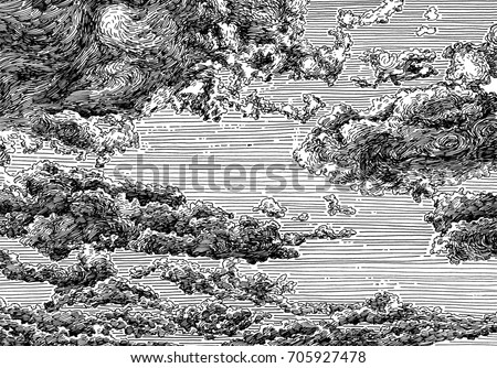 Line Art Illustration Style : Clouded sky view black white dashed stock illustration 705927478
