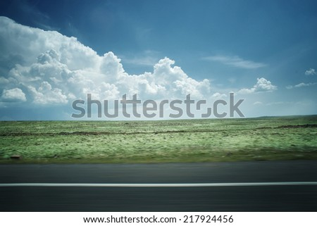 Clouds above the flat landscape