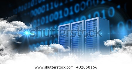 Clouds against three digital grey server towers