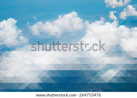 Clouds and blue sky - creative mosaic - stock photo