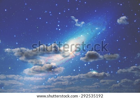 Clouds and galaxy in deep space. My astronomy work. No elements of NASA or other third party. - stock photo