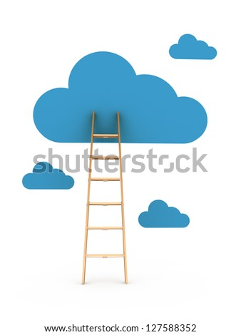 Clouds and ladder, isolated on white background - stock photo