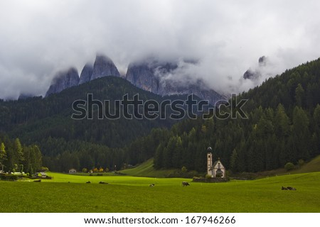 Clouds and rocky cliffs in Italy, Dolomiti