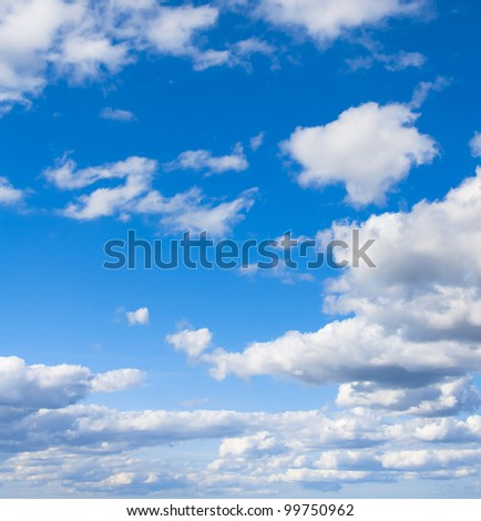 Clouds and Skies Background of Blue Godly Paradise - stock photo