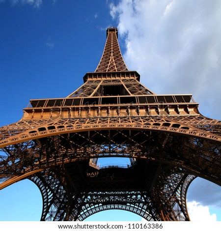 Clouds and Sky Colors above Eiffel Tower, Paris - stock photo