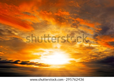 Clouds and Sunset with sun rays  - stock photo